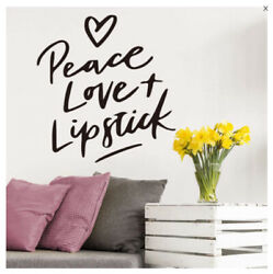 Wall Stickers Murals Peace Love Lipstick Wall Girl Quote Decal Vinyl Home Decor
