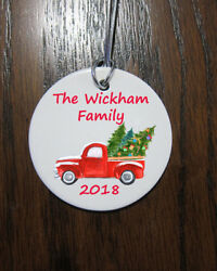 Personalized ceramic personalized custom Christmas truck family Ornament 2019