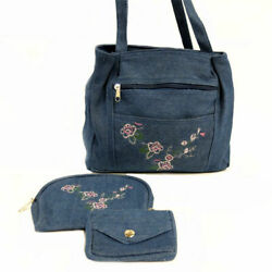Embroidered Denim Women's Bag with Matching Cosmetic Case & Coin Purse