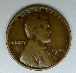1c One Cent Penny 1924 D Vg/f Lincoln Wheat Even Dark Chocolate