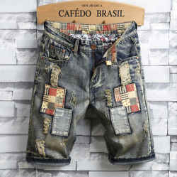 Casual Mens Jeans Shorts Denim Shorts Patched Ripped Distressed Destroyed Washed $24.99