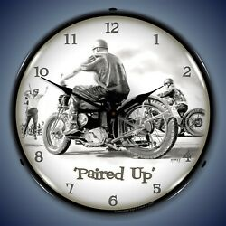 Paired Up Motorcycle Wall Clock Led Lighted
