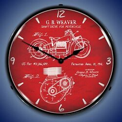 1941 Indian Motorcycle Patent Wall Clock Led Lighted