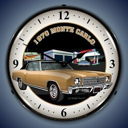 1970 Chevy Monte Carlo Wall Clock Led Lighted Texaco