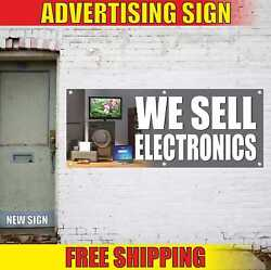 We Sell Electronics Advertising Banner Vinyl Mesh Decal Sign Vintage New Finance