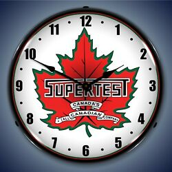Super Test Gas Wall Clock Led Lighted Gas / Oil Theme