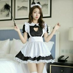 Lady Lolita Waitress Costume Women's Maid Outfit Dress Apron Suit Cosplay Us