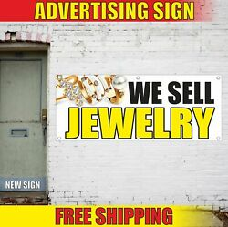 We Sell Jewelry Advertising Banner Vinyl Mesh Decal Sign Vintage Estate Outlet