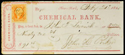 Obsolete Bank Check Chemical Bank New York Ny 1865 W/ Stamp Civil War Period