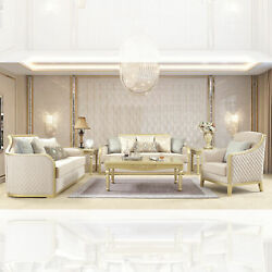 Solid Wood Frame Metallic Gold 6pc Affordable Luxury Sofa Set Tufted Modern