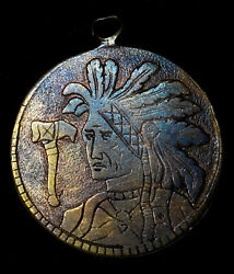 Love Token With Native American Indian Portraits And Tomahawak On Copper Planchet
