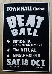 TOWN HALL CLACTON-Rare 1960's BEAT BALL Concert Poster-SIMON K & THE MEANTIMERS