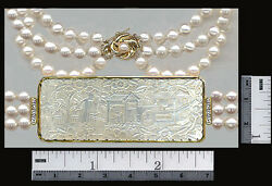 14k Diamond And Pearls Necklace On Fine Deep Carved Antique Chinese Game Counter
