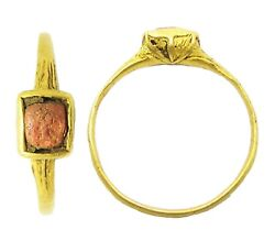 Excavated 16th Century Elizabethan Tudor Gold And Coral Finger Ring Size 6 1/4