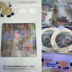 Vintage Silk Brocaded Flowers China Embroidered Pillow Case Cushion Cover Set