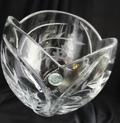 Vintage Lenox Heavy Clear Crystal 8 Bowl Etched Flowers Scalloped Top Poland