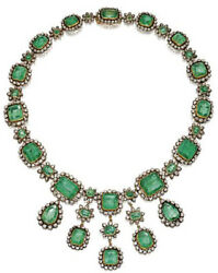 19.30cts Rose Cut Diamond Emerald Antique Victorian Look 925 Silver Necklace
