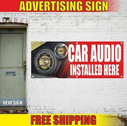 Car Audio Installed Here Advertising Banner Vinyl Mesh Decal Sign Sold Auto Shop