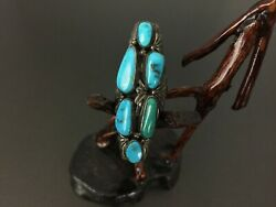 Vintage Southwestern Sterling Silver Turquoise Ring Size 7.75