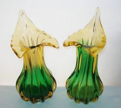 Rare Stupendous Jack In The Pulpit Signed Art Glass Vase Pair Spectacular Heavy