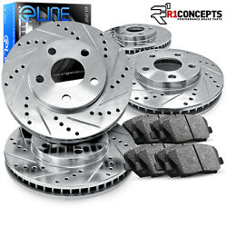Front and Rear eLine Drilled Slotted Brake Rotors &  Ceramic Pads CEC.42127.02