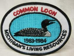 1983-84 Michiganand039s Living Resources Patch Common Loon  Dnr  Free Ship