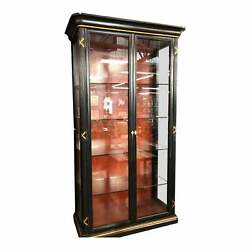 Pair of Erika Brunson for Randolph & Hein Black & Gold Vitrine Showcase Cabinet