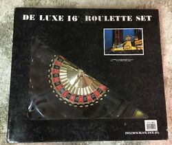 """Deluxe 16"""" Roulette And Blackjack Set Chips Felt Playing Surface Rake"""