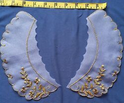 (3) Vintage Baby Collar White with Metallic Gold Embroidery Applique #483