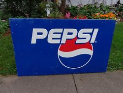 Vintage Pepsi Cola Blue Metal Advertising Sign Barn Wood Frame 58 By 34