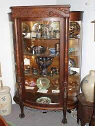 Antique Oak China Or Curio Cabinet Andndash Lion Heads And Claw Feet