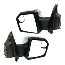 Mirror Set Of 2 For 15-18 Ford F-150 Heated With Memory And Puddle Light Chrome
