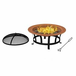 Outdoor Fire Pit 30 Inch Round Large Steel Bowl Copper Color Mesh Screen Cover
