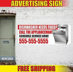 Dishwasher Needs Fixed Advertising Banner Vinyl Mesh Decal Sign Appliance Repair