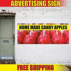 Home Made Candy Apples Advertising Banner Vinyl Mesh Decal Sign Caramel Fair Now
