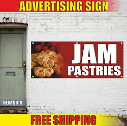 Jam Pastries Advertising Banner Vinyl Mesh Decal Sign Candy Bakery Biscuit Cake