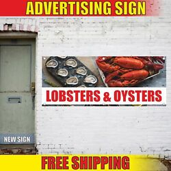 Lobsters And Oysters Advertising Banner Vinyl Mesh Decal Sign Fresh Seafood Bbq