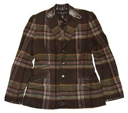 2698 Polo Womens Plaid Cashmere Blazer Usa Brown Olive Green Red 8