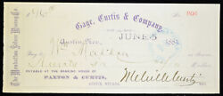Obsolete Bank Check Cage Curtis And Company Manhattan Silver Mining Co. 1884