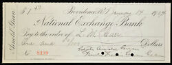 Obsolete Bank Check National Exchange Theodore Francis Green Gov. Ri 1904