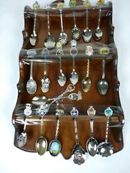 20 Collectible Souvenir Spoons From Various Tourist Spots With Wood Rack