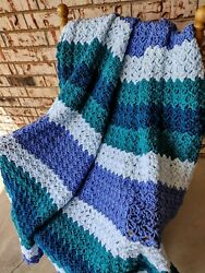 Large Afghan Throw Sofa Blanket Shades Of Blues And Teal Apx 68 By 70 Inches