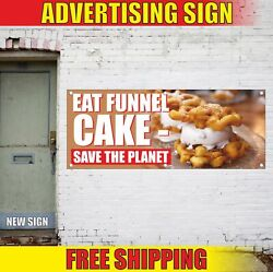 Funnel Cake Advertising Banner Vinyl Mesh Decal Sign Eat Save The Planet Candy
