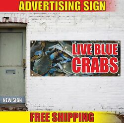 Crabs Advertising Banner Vinyl Mesh Decal Sign Seafood Live Blue Fair Market Now