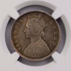 Ngc-ms63 1862c India 1/2rupee 4 Panels/flat Top1 Silver Only One Finer Rare Type