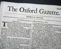 Extremely Rare 17th Century Oxford Edition England Gazette 1665 Old Newspaper