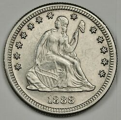 1888-s Liberty Seated Quarter. Re-punched Mint Mark. A.u.-unc. 140683