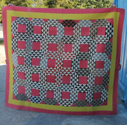 Ocean Waves Antique Quilt – Red And Yellow Colors