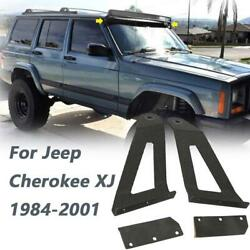 50 Curved Led Light Bar Roof Mount Brackets Fit For Jeep Cherokee Xj 84-01 New