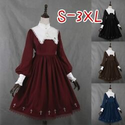 Lolita Ball Gown Women Cute Vintage Cosplay Party Dress Lace Long Sleeve Costume